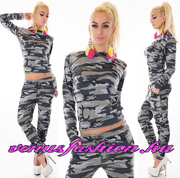 Divatos Terepmintás szürke szabadidő együttes - Venus fashion női ruha webáruház