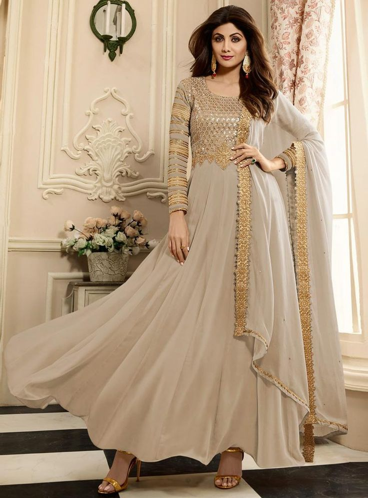 Gray Shilpa Shetty Semi-Stitched Anarkali Suit
