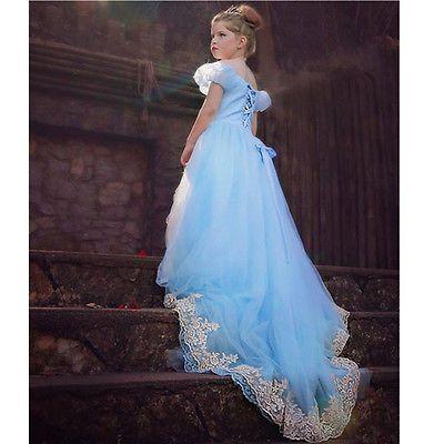 Kids Girls Cartoon Movie Costume Cinderella Elsa Ana Frozen Princess Party Dress size 110