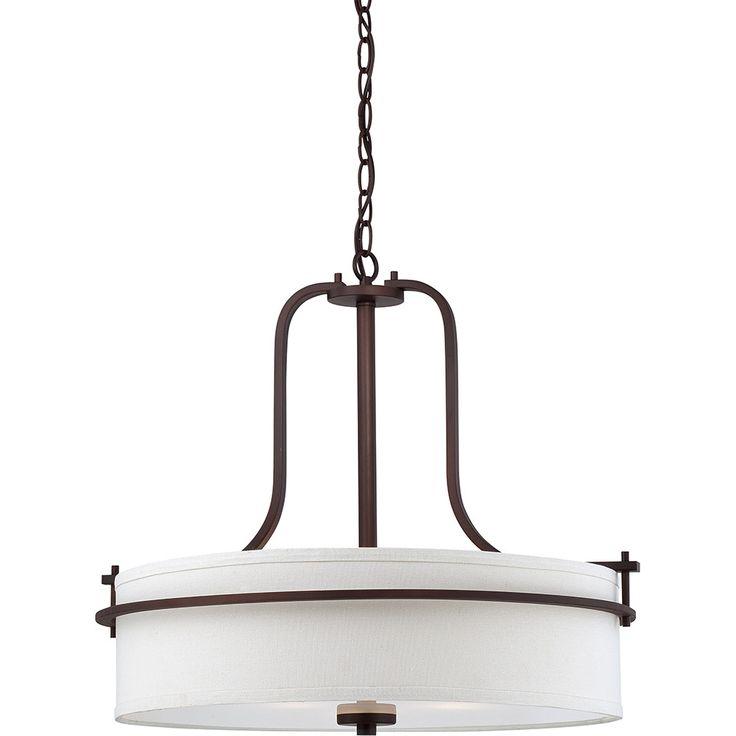 Loren - 4 Light Pendant w/ White Linen Shade