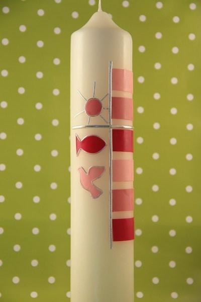 Elfenbeinfarbene Tauf/Kommunionkerze H:30cm x6cm Mit Liebe in Rosatönen verziert. Es kann natürlich auch der Name und Kommunion-/Tauftag mit verz...