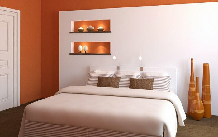 Installation examples wall paint ideas wood orange white plasterboard