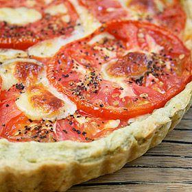 Fresh Tomato Tart with a Basil-Garlic Crust ~ via Ezra Pound Cake
