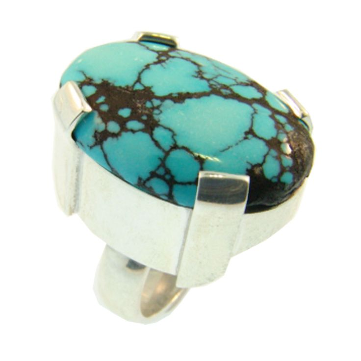 Sterling Silver & Turquoise Ring. Handmade at Cameron Jewellery by Sam Drummond.
