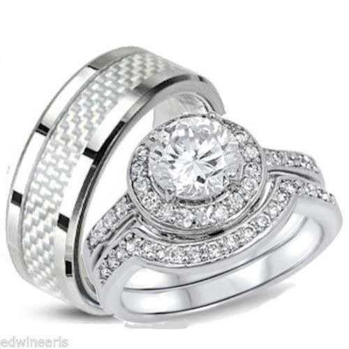 Fresh Womens mens couples matching wedding ring sets cheap Sterling silver stainless steel and titanium