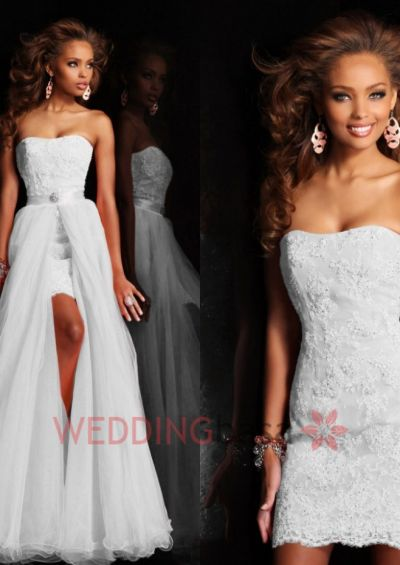 2015 New Fashion Dreamatic Sweetheart Strapless Column Mini Short Strapless Appliques Pure White Wedding Dress Bridal Gown With Detachable Skirt Embroider Back Zipper Cheap Prom Party Gowns