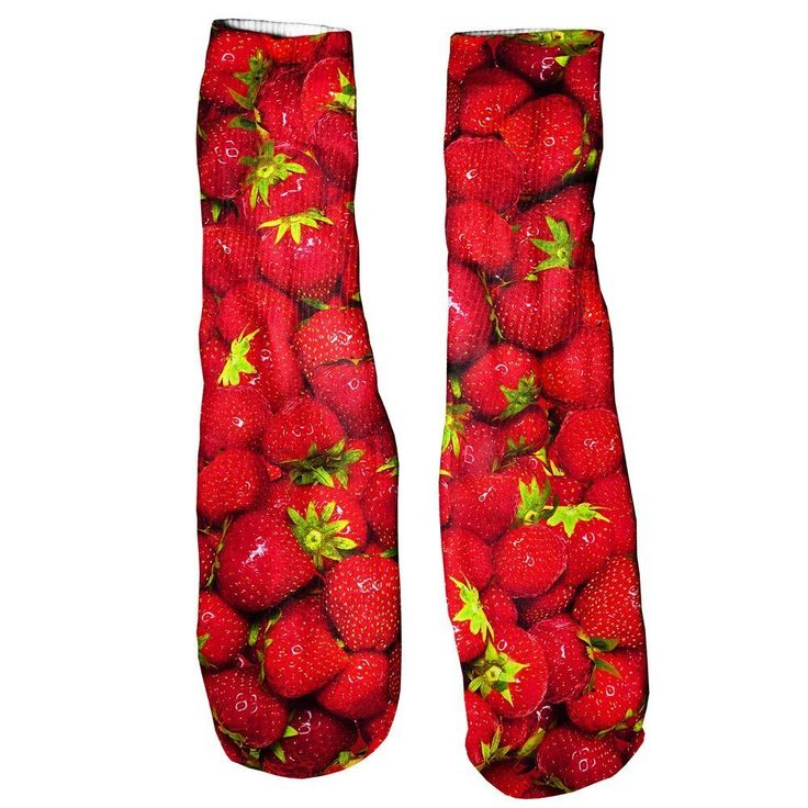 Strawberries Foot Glove Socks  Nothing goes together like summer and strawberries. Luckily you can have it all with these delicious-looking socks.    Soft and comfortable vibrant prints allover that are guaranteed to never fade or peel. Made of 100% cotton.