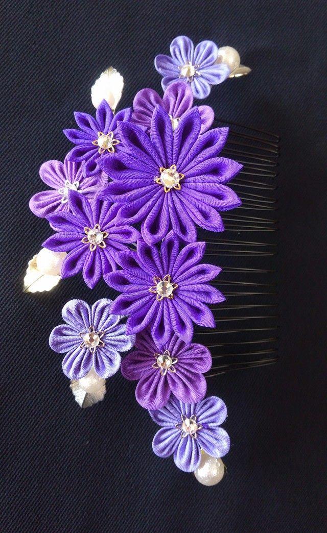 「つまみ細工」紫の小花コーム