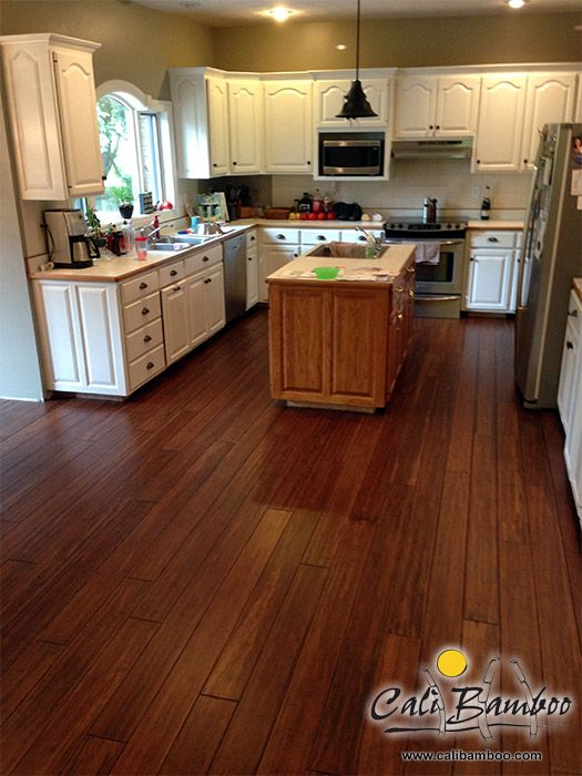 Dark Antique Bamboo Flooring For The Kitchen Bamboo