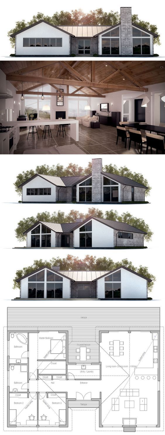 House Plan with three bedrooms, open planning, vau…