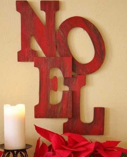 Easy DIY Christmas Crafts for Kids  - Giant Christmas Greeting - Click pic for 45 Budget Friendly Holiday Decor Ideas