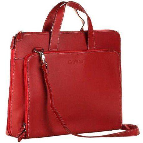 bolsa feminina para notebook de couro vermelha