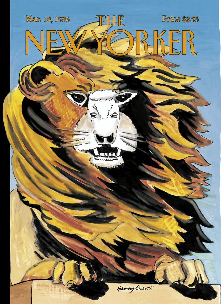 """The New Yorker - Monday, March 18, 1996 - Issue # 3698 - Vol. 72 - N° 4 - Cover """"Lion and Lamb"""" by Lars Hokanson & Frances Cichetti"""