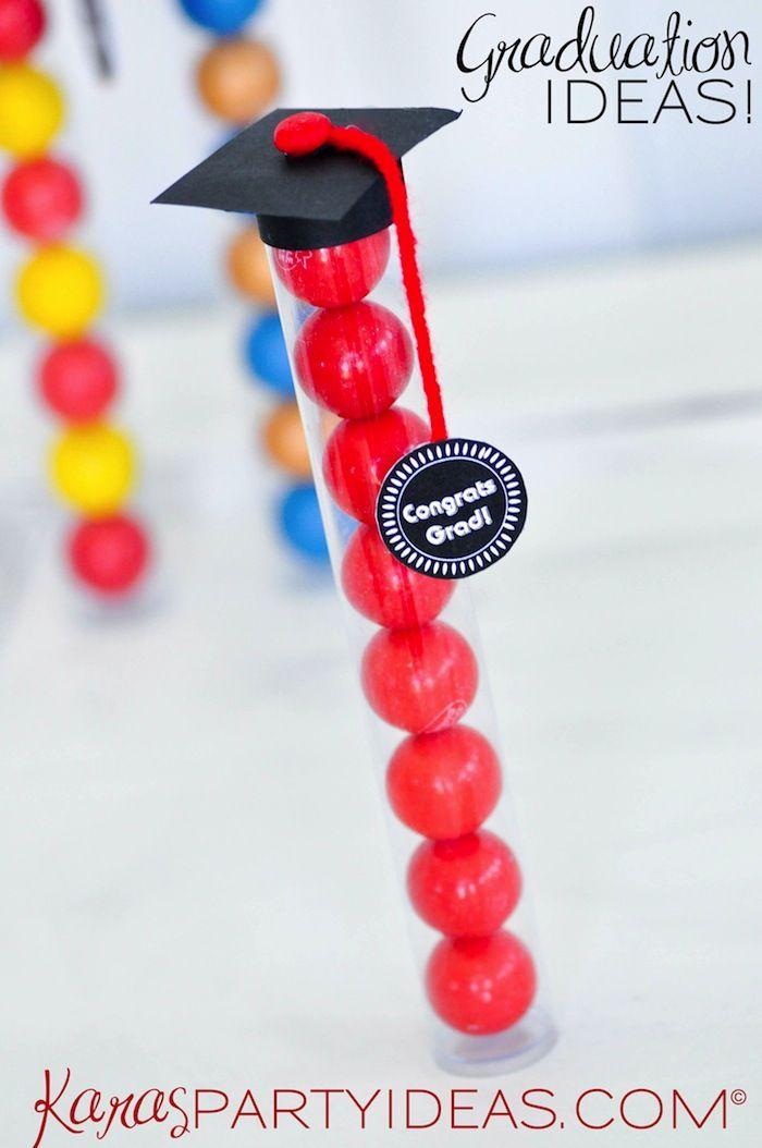 Graduation Gift Ideas! Graduation Cap Gumball Tubes. FREE PRINTABLE tag & easy tutorial via Kara's Party Ideas KarasPartyIdeas.com #graduationparty #classof2014