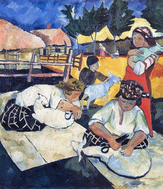 1907 Natalia Goncharova (Russian artist, 1881-1962) Shearing Sheep