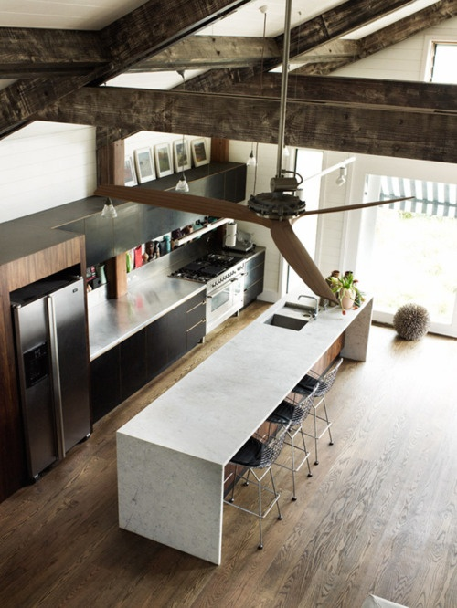 exposed beams and high ceiling