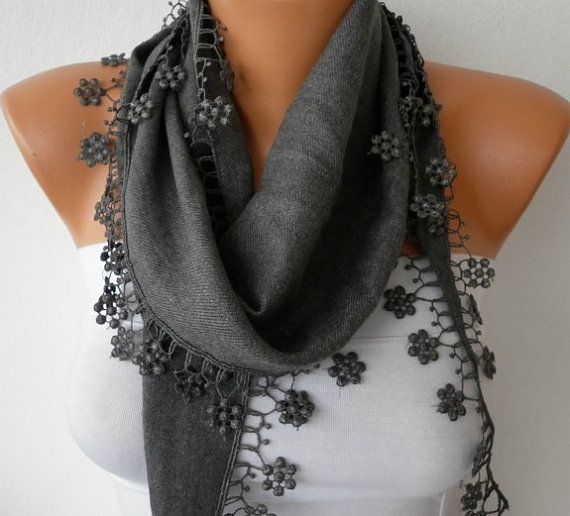 Gray Scarf   Pashmina Scarf by fatwoman, $13.50: Lace Edge, Style, Necklace Cowl, Scarfs, Scarf Headbands, Pashmina Scarf