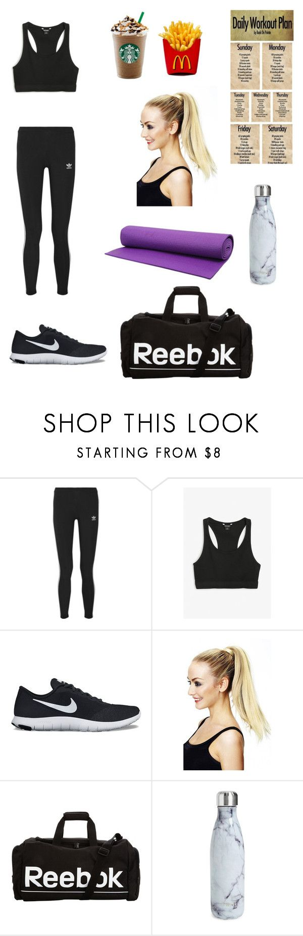 """YOGA🤞🏻"" by kkinast ❤ liked on Polyvore featuring adidas Originals, Monki, NIKE, Reebok and S'well"