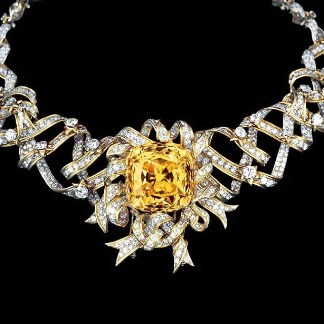 The Tiffany Diamond. 128.54 carats. Necklace designed by Jean Schlumberger and worn by Audrey Hepburn in 1961 to promote Breakfast at Tiffany's. The diamond is usually on display (minus the necklace) at Tiffany & Co. in New York. KA