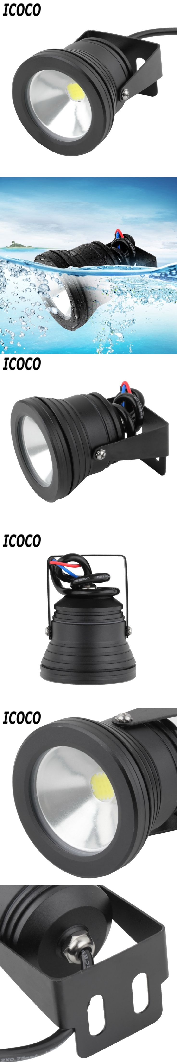 ICOCO Hight Quality 10W Waterproof LED Flood Light Underwater Fountain Light Wash Pond Fish Tank floodlight 12V Outdoor Lighting