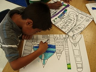 2nd grade arch. drawing and colors