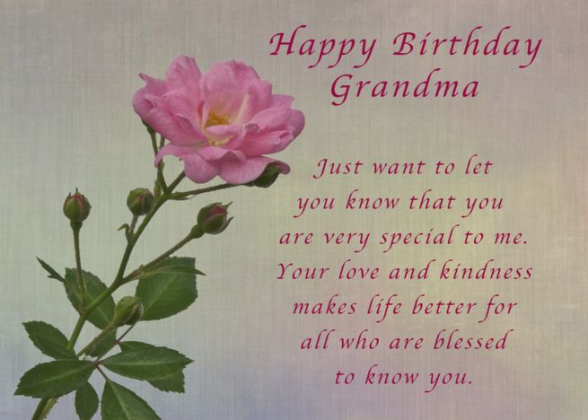 Happy Birthday Grandma Simple Pink Rose Card With Images