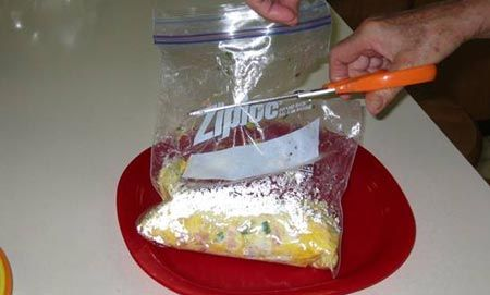 Ziploc Omelette! We made these at girls camp and they were awesome!