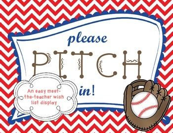 "Meet the Teacher Wish List: Baseball Themed ""Please Pitch In!"" Great for teacher wish list displays for meet-the-teacher, open house or back-to-school night."