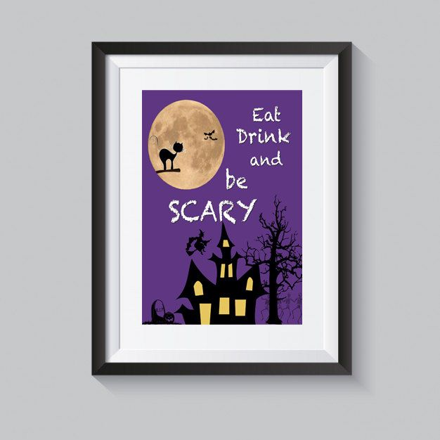 Halloween print eat drink and be scary printable art purple halloween poster quote digital print quote wall art instant download by S4StarSbySiSSy on Etsy