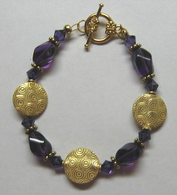 Gold Coin and Purple Bracelet by treasuresbycathy on Etsy, $14.95