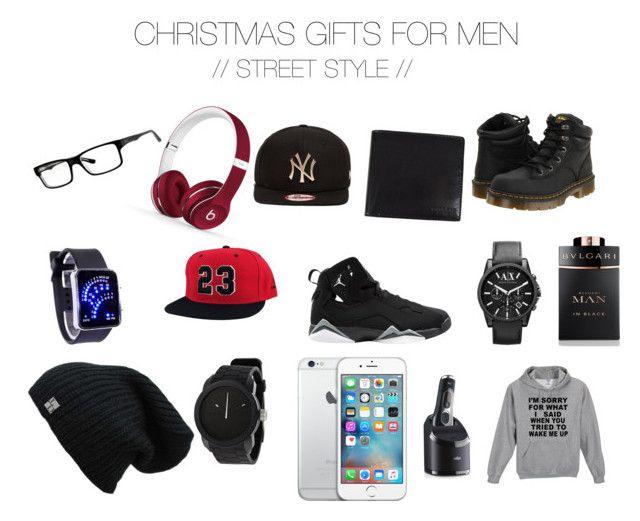 """""""CHRISTMAS GIFTS FOR MEN // STREET WEAR EDITION"""" by georgieeaa on Polyvore featuring Beats by Dr. Dre, New Era, Dr. Martens, Ray-Ban, Armani Exchange, Bulgari, Diesel, Braun and Coach"""