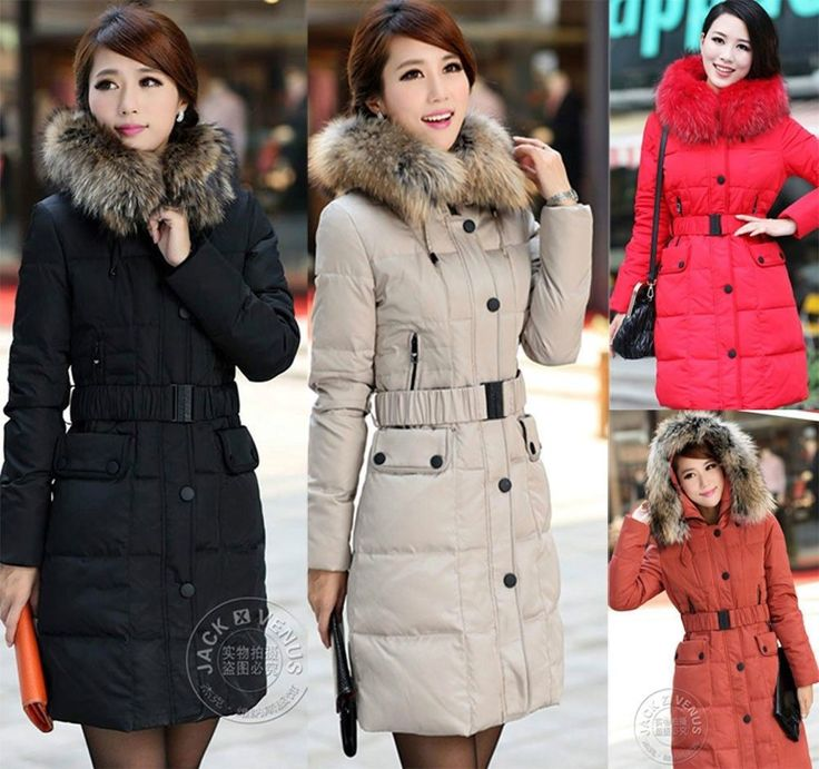 New Arrival Women's Duck Down Coat Slim Fur Hooded Parka Belt Long Jacket Coat #new #Parka