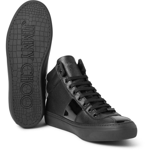Jimmy Choo Belgravia Patent and Grained-Leather High Top Sneakers (2.490 BRL) ❤ liked on Polyvore featuring men's fashion, men's shoes, men's sneakers, mens patent leather sneakers, jimmy choo mens sneakers, mens rubber sole shoes, mens patent leather shoes and crocs mens shoes