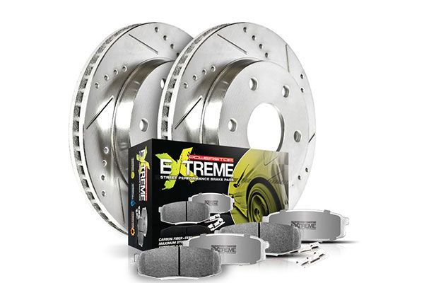 Power Stop Street Warrior Brake Kit - Z26 Pads with Cross Drilled & Slotted Brake Rotors by Powerstop