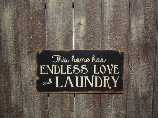 Hanging Wood Laundry Room Sign - Endless Love and Laundry Primitive Wall Decor…