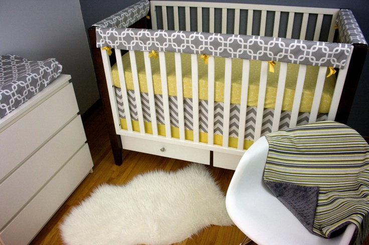 Crib Bedding, Upgraded Rail Guard/ Fitted Sheet/ Skirt with Trim/ Minky Blanket/ Changing Pad Cover (Crib Bedding). $325.00, via Etsy.    ---  Like the alternating use of fabrics here