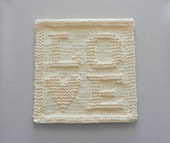 Knit Dishcloth LOVE  Unique Hand Knitted by AuntSusansCloset