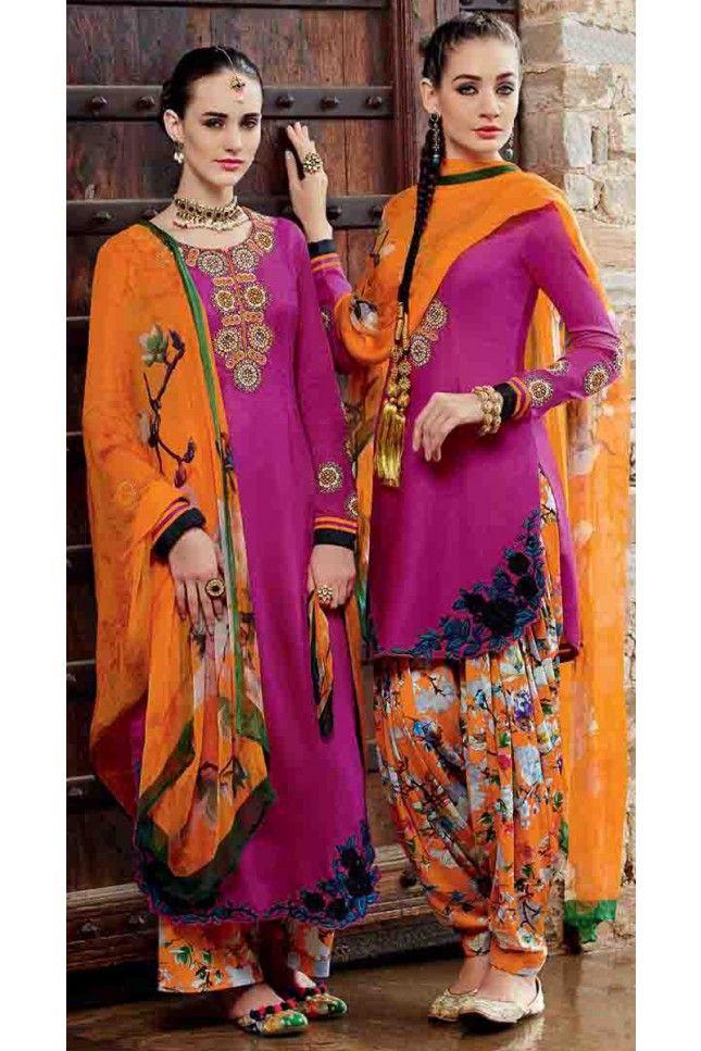 Ethnic Magenta Cotton Embroidered Patiala Salwar Kameez