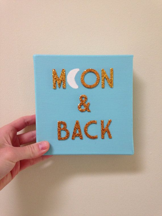 Moon  Back gold glitter Tiffany blue ooak quote art