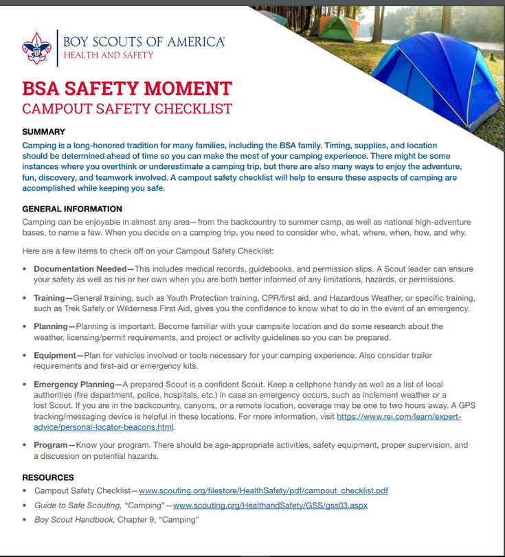 BSA Safety Moment - Camping Safely