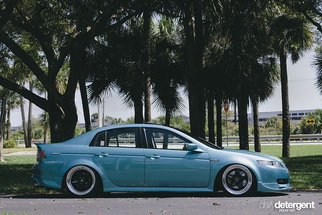 Stanced teal Acura TL
