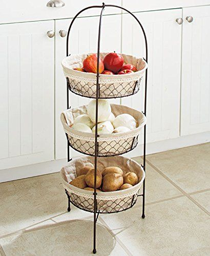 16 Fruit and vegetable storage ideas - To storage fruit and vegetable you can use drawers, fabric bags, woven baskets mounted in a wooden frame or traditional wooden baskets.