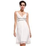 Ever Pretty Double V Neck Empire Line Knee-length Party Dress 27129, Size 16, White