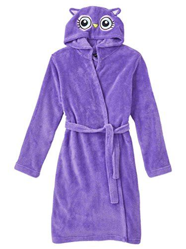 Joe Boxer Girls Hooded Purple Critter Bathrobe Bath Robe Owl House Coat 39f339383