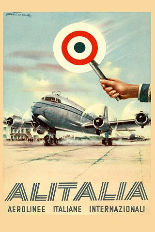 Vintage Italian airline travel poster