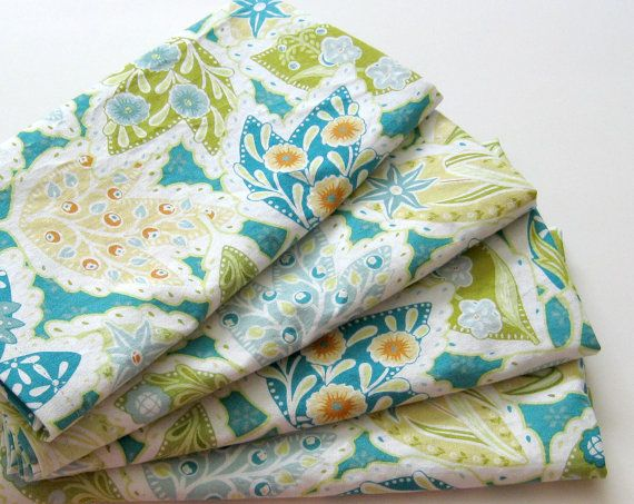 Cloth Napkins  Set of 4  Teal Green Orange Leaves  by ClearSkyHome, $18.00