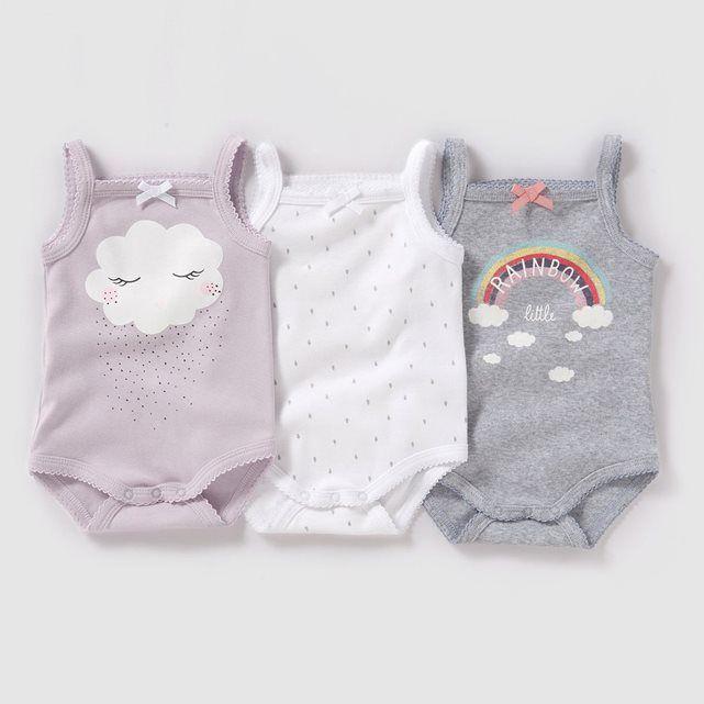 Body à bretelles (lot de 3) 0 mois-3 ans R baby : prix, avis & notation, livraison.  Les 3 bodies imprimés à bretelles en jersey. Entrejambe pressionné. Finitions point picot emmanchures et encolure. Lot composé de 2 unis imprimés devant + 1 imprimé