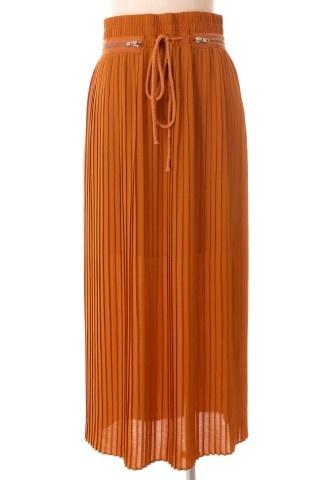 High waist pleated maxi skirt with zippers
