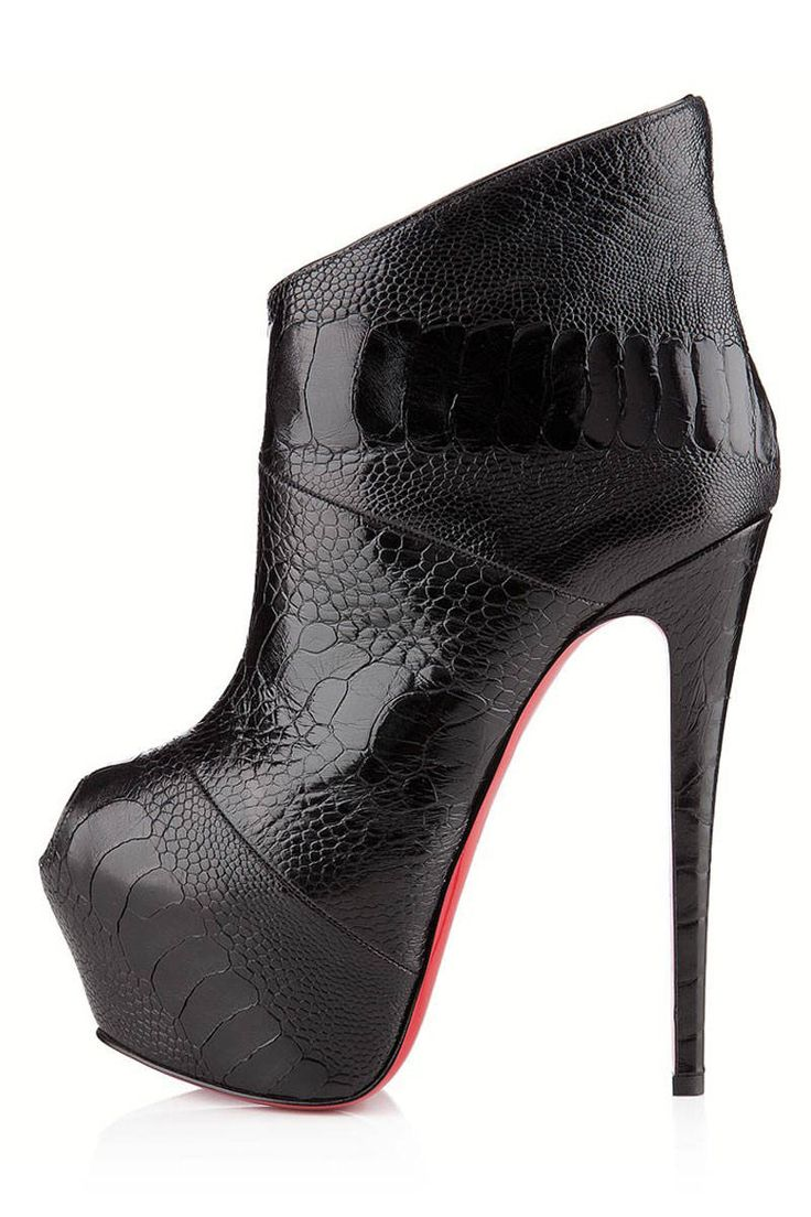 knockoff louis vuitton shoes - christian louboutin pointed-toe ankle boots Grey ostrich leg ...