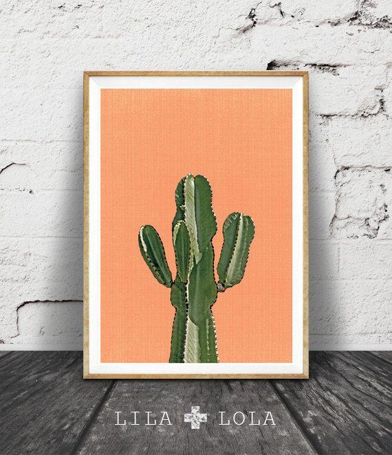 Cactus Print, Orange,Terracotta, Mexican, Arizona, South Western, Desert, Aztec Art Print, Cactus Print Wall Art Decor, Printable Art